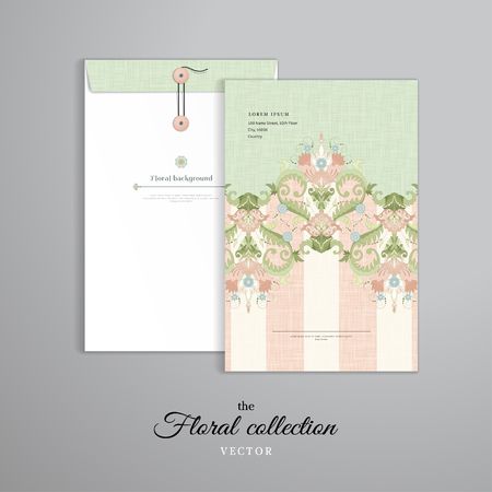 Vector template. Vertical big envelope with buttons. Border with floral vintage pattern and delicate canvas texture.
