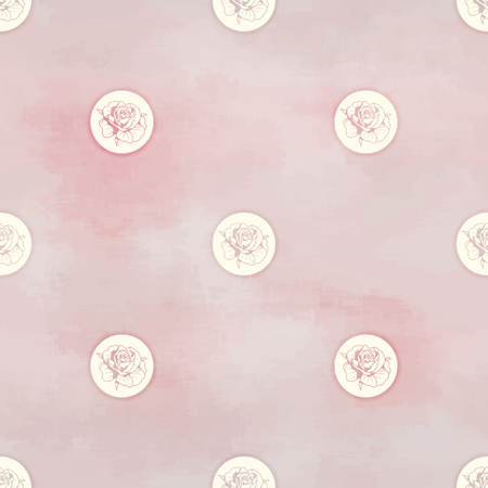 Vector seamless background. Round patterns of victorian garden roses. Hand drawing in vintage style. Watercolor backdrop.