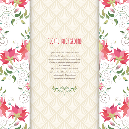 Beautiful floral borders and insertion with delicate ornament vector card. Place for your text. Illustration