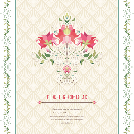Beautiful floral borders and floral element vector card. Insertion with delicate ornament. Place for your text. Illustration