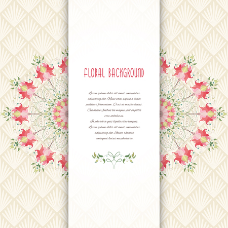 Beautiful round floral pattern and insertion for your text vector card. Delicate ornament on backdrop. Illustration