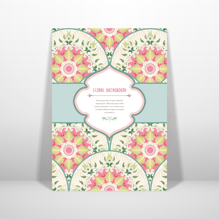 Vector card, beautiful round floral pattern. Delicate ornament on backdrop. Figured frame for your text.