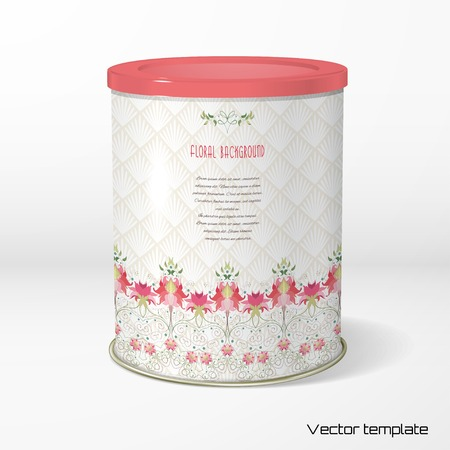 Vector object. Round tin packaging. Tea, coffee, dry products. Beautiful floral border. Delicate ornament on backdrop. Place for your text.