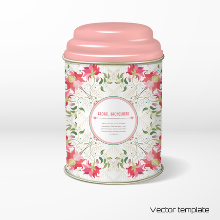 Vector object. Round tin packaging with a figured cover. Tea, coffee, dry products. Floral square pattern. Delicate ornament on backdrop. Place for your text. Illustration