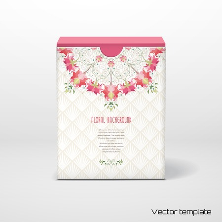 Box with place for your text vector illustration. Round floral pattern and delicate ornament on backdrop. Illustration