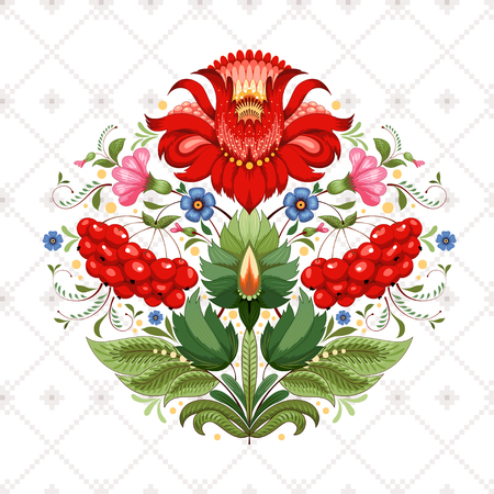 Vector background with beautiful floral Ukrainian pattern. Flowers in the style of Petrykivka painting. Seamless pattern similar to cross stitch.