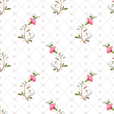Seamless vector background. Style of Petrykivka painting. Ukrainian pattern with pink flowers and cross stitch ornament on backdrop. Illustration