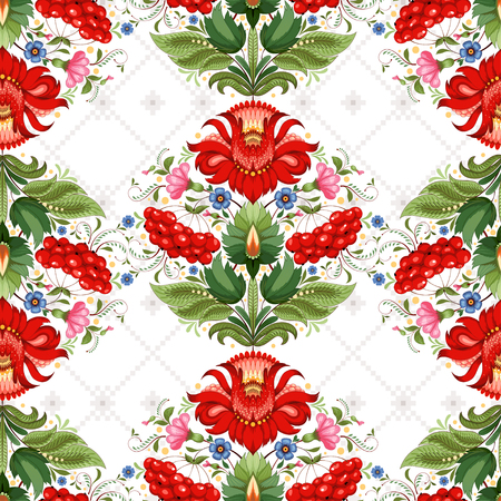 Vector seamless background. Floral ukrainian pattern in the style of Petrykivka painting and background with ornament similar to embroidery. Illustration