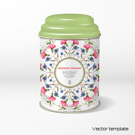 Vector object. Round tin packaging with a figured cover. Floral Ukrainian ornament in the style of Petrykivka painting. Background with pattern similar to embroidery. Place for your text.