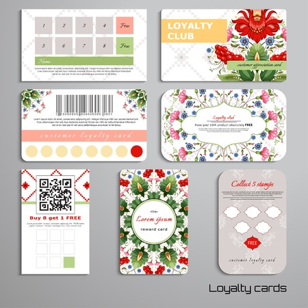 Set of loyalty cards. Floral Ukrainian pattern. Flowers in the style of Petrykivka painting. Pattern similar to cross stitch. Place for your text. Ilustração