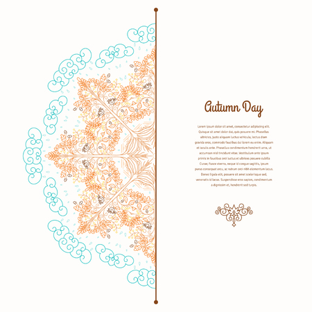 Vector card with round pattern. Contoured tree with acorns in the rain and the soil. Place for your text. Autumn theme.