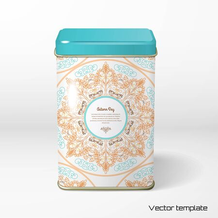 Vector object. Square tin packaging. Tea, coffee, dry products. Autumn round pattern with oak and birds. Illustration