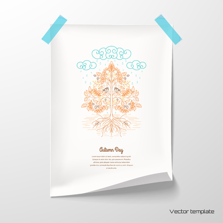 Vector illustration. Sheet of paper with autumn tree in the rain tape to the wall. Decorative leaves, birds and soil.