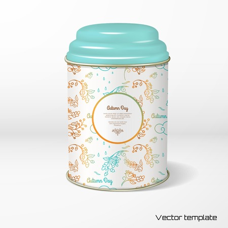 Vector object. Round tin packaging with a figured cover. Tea, coffee, dry products. Illustration