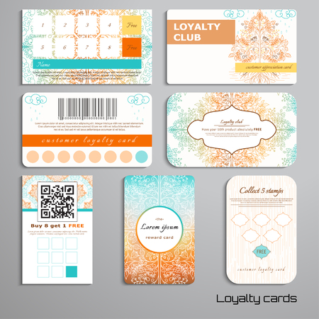 Set of loyalty cards. Autumn trees in the rain and soil. Gradient elements. Place for your text. Vectores