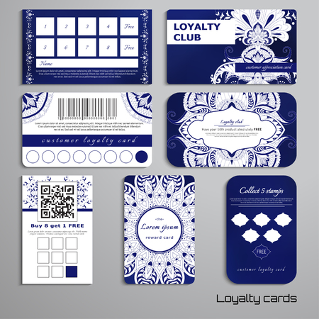 Set of loyalty cards damask oriental pattern and round ornament, place for your text.