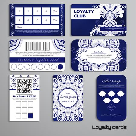 ロイヤリティカードのセットは、東洋のパターンと丸い装飾品、あなたのテキストのための場所をダマスク。