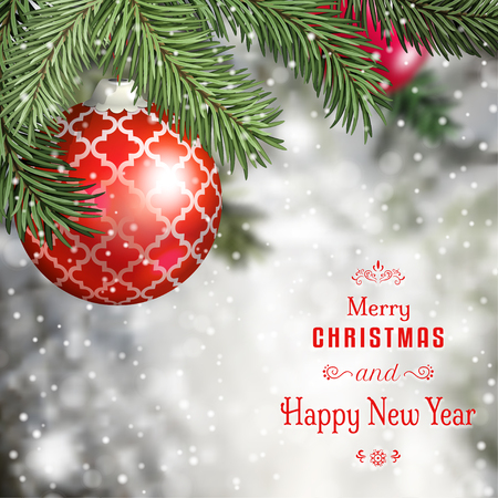 Vector illustration. Fir tree branches on winter background with red ball. Christmas and New Year theme.
