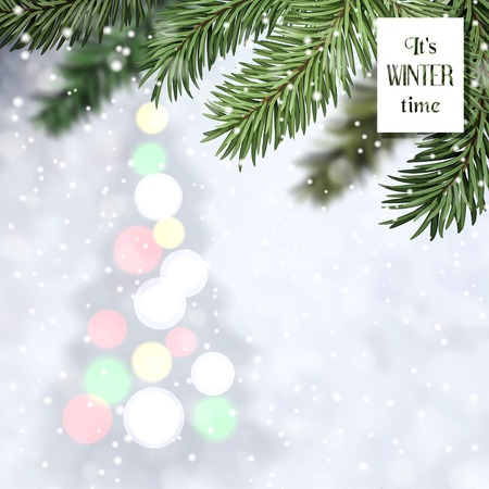 Vector illustration. Winter composition with Christmas tree on backdrop and fir tree in the foreground.