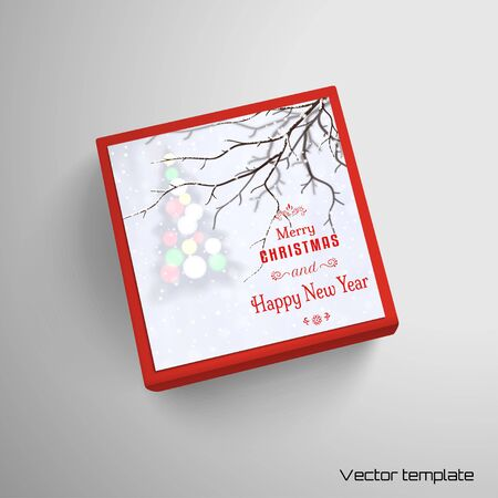 Vector illustration. Box with Christmas tree on snowfall backdrop. Place for your text.