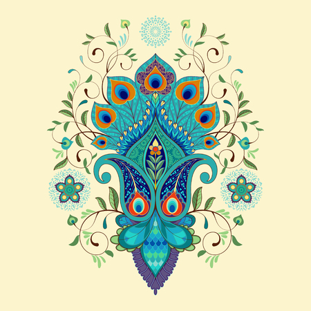 Vector illustration. Beautiful oriental traditional paisley flower with peacock feathers.