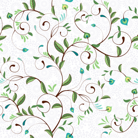 Seamless vector background. Delicate pattern with curly branches and leaves. Elegant absrtact backdrop. Иллюстрация