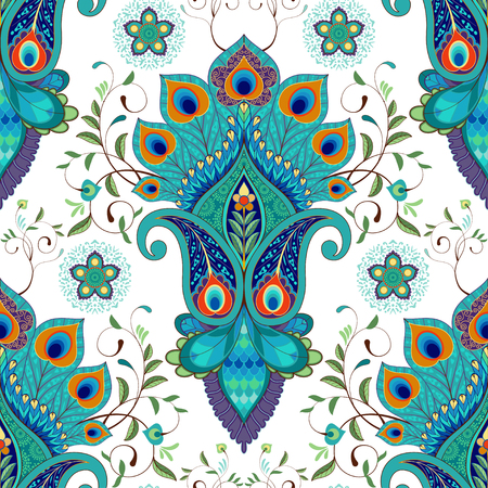 Seamless vector background with oriental pattern. Paisley flowers with peacock feathers. Illustration