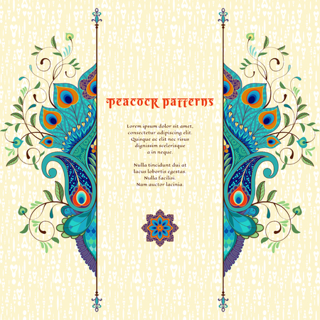 Vector card with delicate ornament. Oriental floral pattern with peacock feathers. Place for your text.