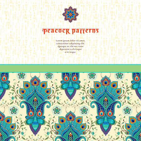 Vector card with oriental floral pattern with peacock feathers and delicate ornament. Place for your text. Stock Illustratie