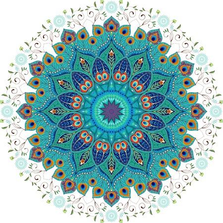 Sfondo vettoriale Motivo floreale rotondo orientale paisley con piume di pavone. Vettoriali