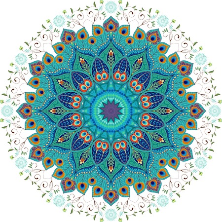 Vector background. Oriental round floral paisley pattern with peacock feathers.