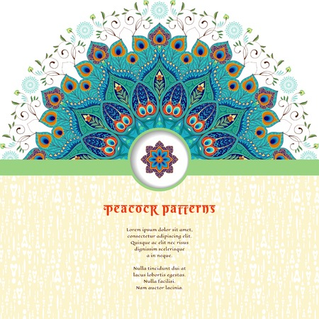 Vector card. Round floral pattern with peacock feathers. Abstract insertion for your text. 矢量图像