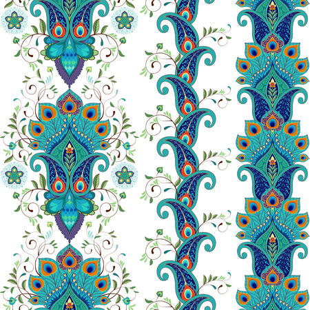 Set of three vector seamless borders. Eastern flowers with peacock feathers.