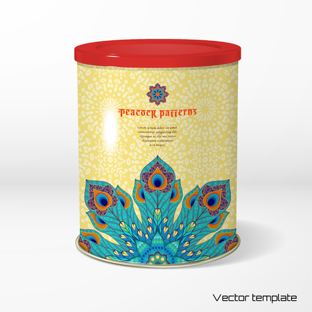 Vector object. Round tin packaging. Tea, coffee, dry products. Oriental round pattern with peacock feathers. Delicate backdrop. Place for your text. Illustration