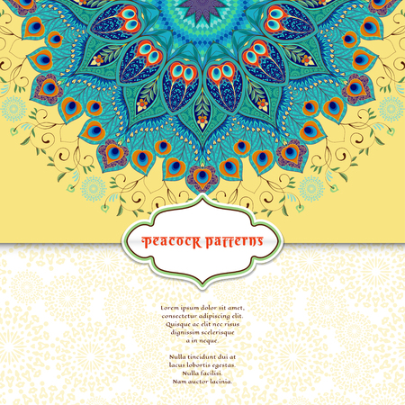 Vector envelope for invitations or congratulations. Round floral pattern. Eastern traditional floral pattern with peacock feathers. Place for your text.