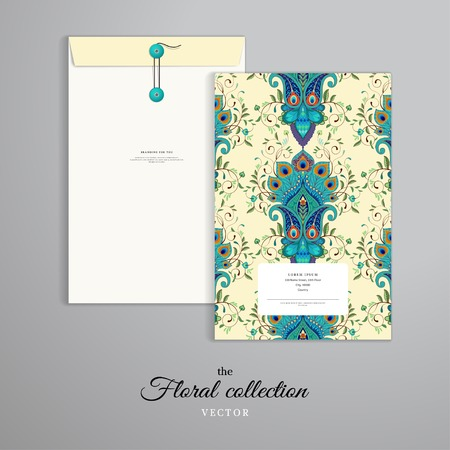 Vector template. Vertical big envelope with buttons. Eastern paisley flower with peacock feathers elements.