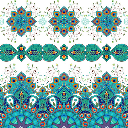 Vector set of seamless borders. Pattern with peacock feathers.