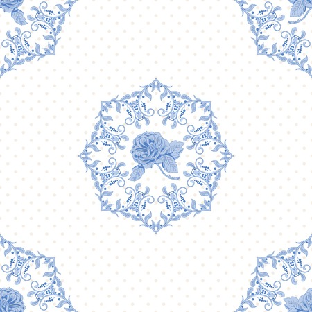 Vector seamless background with polka dots and round pattern of a bouquet of french roses. Vintage style.