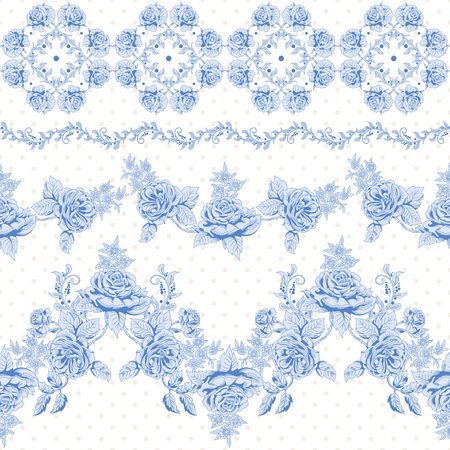 Vector set of seamless borders. Pattern with french garden roses in vintage style. Vettoriali
