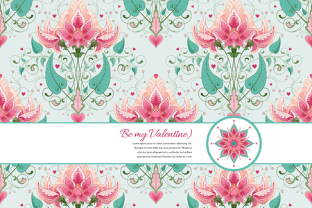 Vector card. Fantasy floral design. All design elements consist of hearts. Wedding or Valentines Day. Ribbon for your text.
