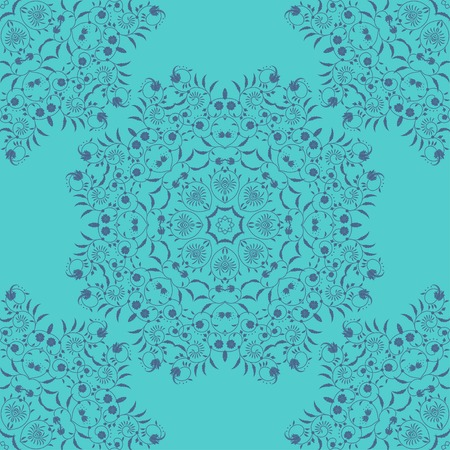 Vector seamless background. Round floral pattern with curls.