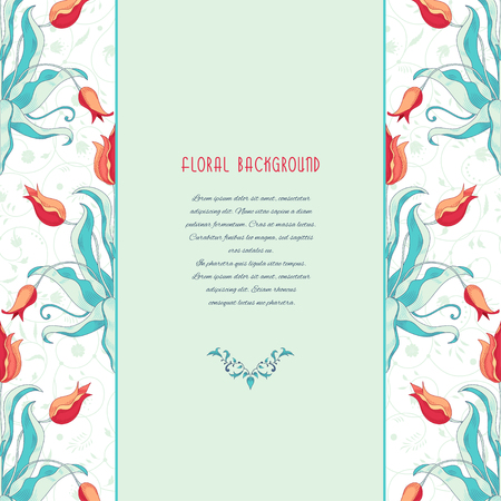 Vector card. Tulip flower borders and decor with curls. Insertion for your text.