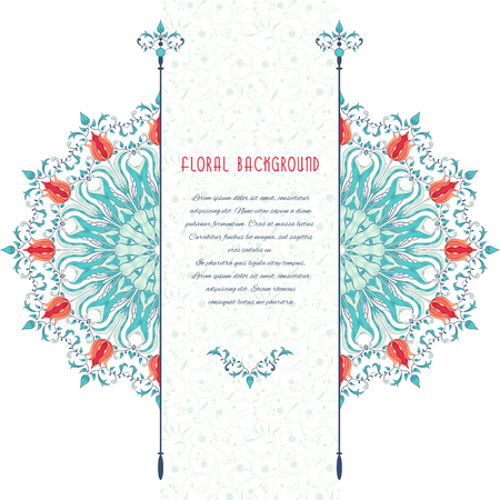 Vector card. Round tulip flower pattern. Insertion for your text with curls.