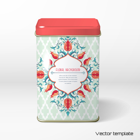 Vector object. Square tin packaging with tulip flower. Moroccan tiles pattern background. Tea, coffee, dry products. Frame for your text.