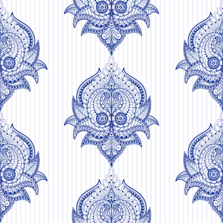 Seamless vector background with damask oriental pattern and striped backdrop. Vetores