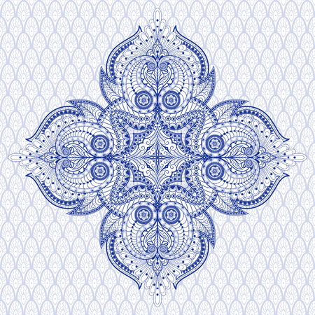 Seamless vector background with ethnic pattern. Square floral oriental ornament. 向量圖像