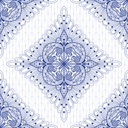 Vector seamless background with square floral pattern on ethnic delicate backdrop. Vetores