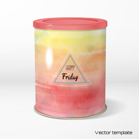 Vector object. Round tin packaging. Tea, coffee, dry products. Colored backdrop and inscription
