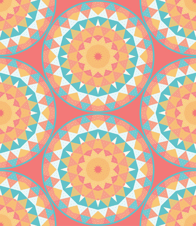 Seamless vector background with grid and multicolored triangles. Round patterns. Illustration