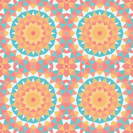 Seamless vector background with round patterns. Grid and multicolored triangles.